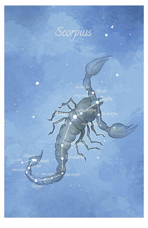 Art d'astronomie, constellation du Scorpion, Scorpio, luminescent étoiles main-embellie imprimer