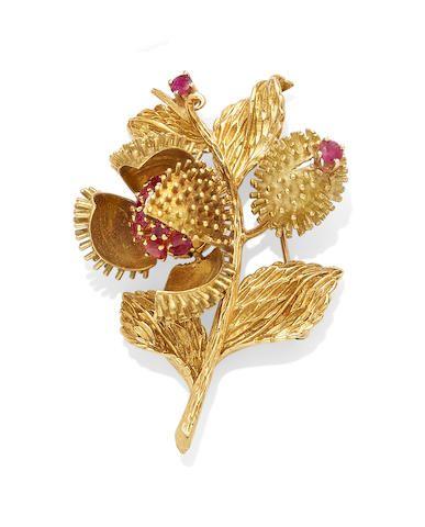 870ef5a10de A diamond, ruby and 18k gold flower brooch, Tiffany & Co. | FLOWER ...