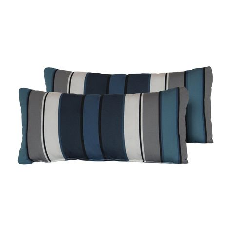 Tk Classics Captains Blue Stripe 22 X 11 In Outdoor Throw Pillow
