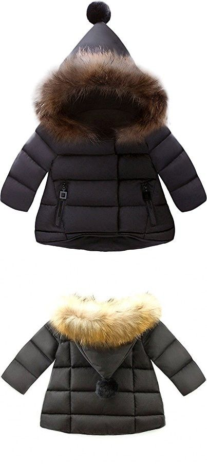 Jojobaby Baby Boys Girls Hooded Snowsuit Winter Warm Fur Collar Hooded Down Windproof Jacket Outerwear 6 12 Months Black Baby Snowsuit Baby Coat Snow Suit