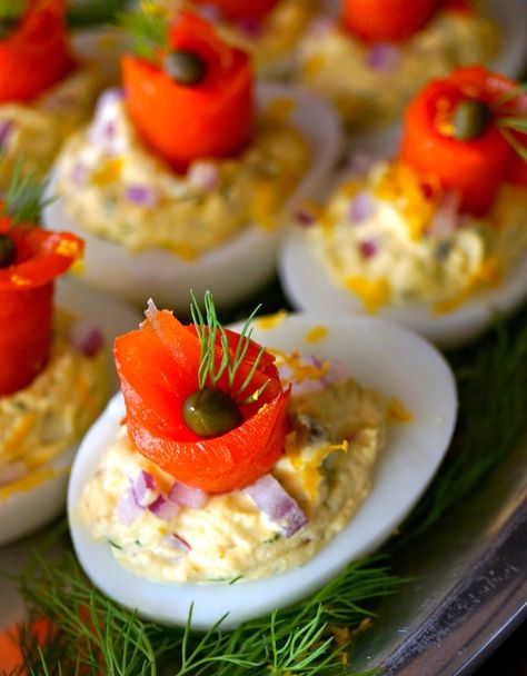 The Best Smoked Salmon Deviled Eggs - They include absolutely everything you want with a bagel, cream cheese & lox, minus the bagel. These beauties are an explosion of flavor and make for the perfect hors d'oeuvre or brunch item as we head into the spring holidays.