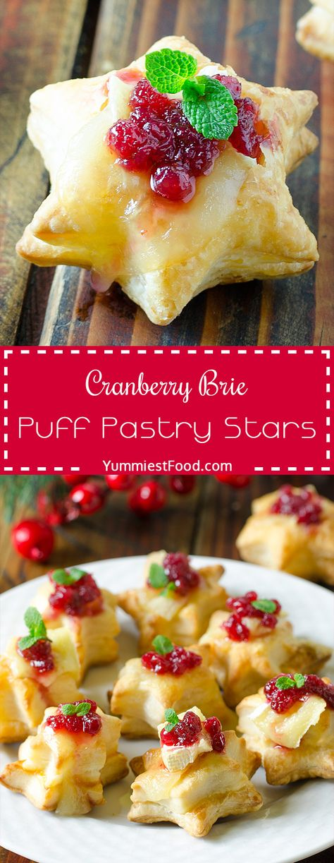 Christmas Cranberry Brie Puff Pastry Stars – Recipe from Yummiest Food Cookbook