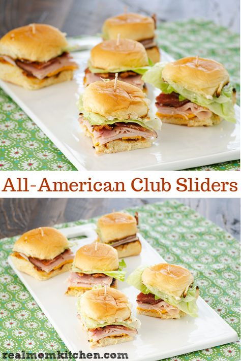 All-American Club Sliders - Essen - Sandwich Recipes Slider Sandwiches, Cold Sandwiches, Appetizer Sandwiches, Finger Sandwiches, Mini Party Sandwiches, Bridal Shower Sandwiches, Sliders Party, Sandwiches For Dinner, Tailgate Sandwiches