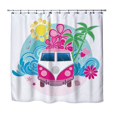 Beach Surfer Bathroom Peace Coolest Shower Curtain Made In Usa Surf Decor Cool Shower Curtains Beach Shower Curtains Kids Bedding