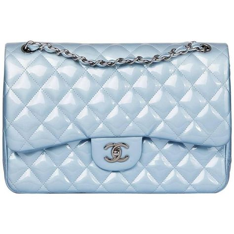 f49e57aabf37 Chanel Sky Blue Quilted Iridescent Patent Leather Jumbo Classic Double Flap  Bag at 1stdibs