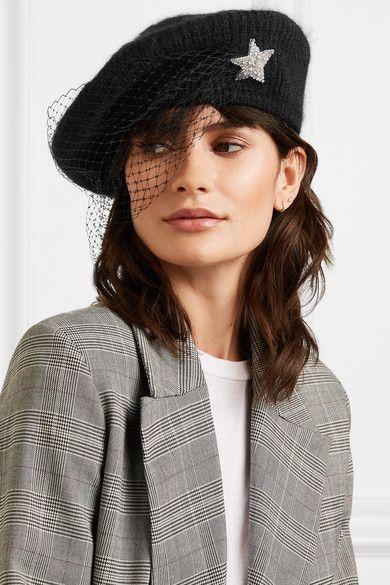 Black Embellished Veiled Mohair Blend Beret Jennifer Behr Beret Fashion Hats Vintage