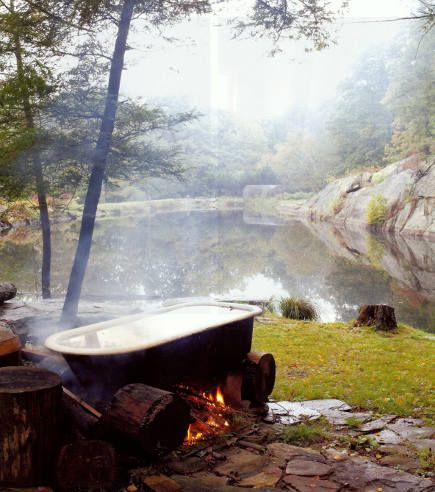 Outdoor bathtub with a fire underneath In the garden Pinterest