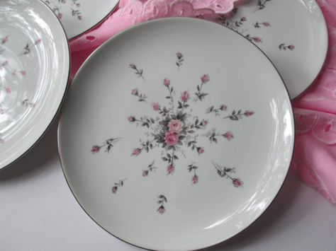 Vintage Harmony House Rosebud Pink Gray Salad by thechinagirl