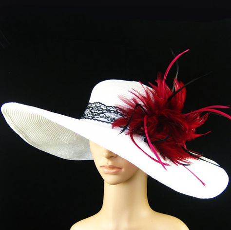 NEW Church Kentucky Derby White Hat Feathers by theoriginaltree, $59.97