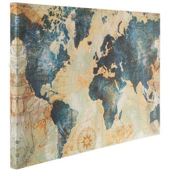 Blue Gold World Map Canvas Wall Decor Map Canvas Painting