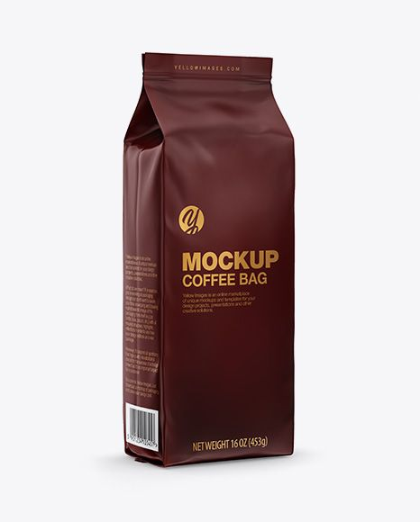 Download Matte Coffee Bag Mockup Half Side View In Bag Sack Mockups On Yellow Images Object Mockups Bag Mockup Coffee Packaging Mockup