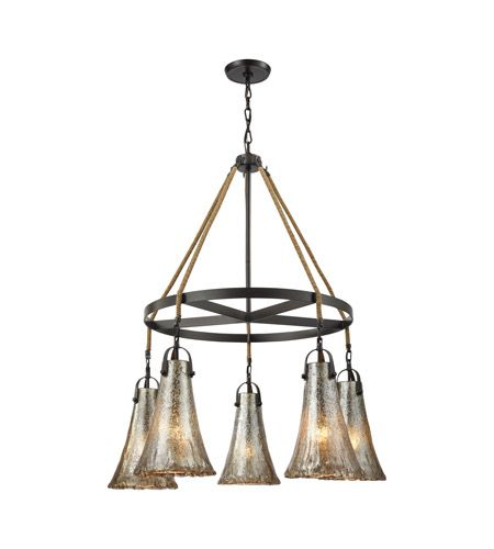 Hand Formed Glass 5 Light Chandelier in Oiled Bronze with Mercury Glass