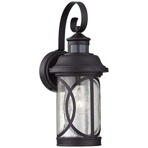Capistrano 12 3 4 H Black Motion Sensor Outdoor Wall Light