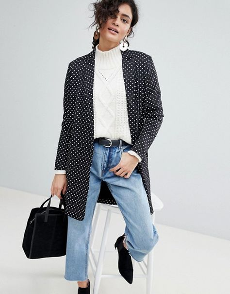 Buy Selected Femme Polka Dot Long Blazer at ASOS. With free delivery and return options (Ts&Cs apply), online shopping has never been so easy. Get the latest trends with ASOS now.