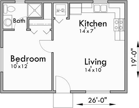 Small House Plans One Bedroom House Plans Under 500 Sqft Perfect In The Backyard One Bedroom House Plans Small House Floor Plans Guest House Plans