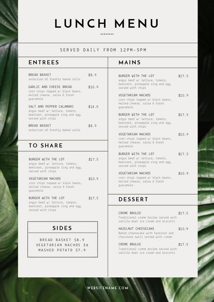 Menu template with Tropical Leaves - DIY in EasilYou can find Restaurant menu design and more on our website.Menu template with Tropical Leaves - DIY in Easil