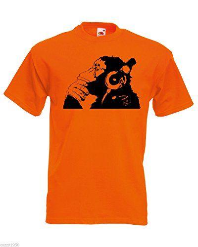 Banksy Affe Mit Kopfhorer Herren T Shirt Schimpanse Kopf