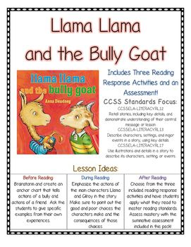 Llama Llama And The Bully Goat Reading Comprehension Ccss
