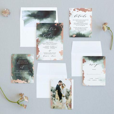 Fancy Marble Foil-Pressed Wedding Invitations by Phrosne Ras | Minted