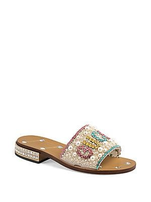 """40be44295 Gucci Crystal & Pearl Leather Mules 