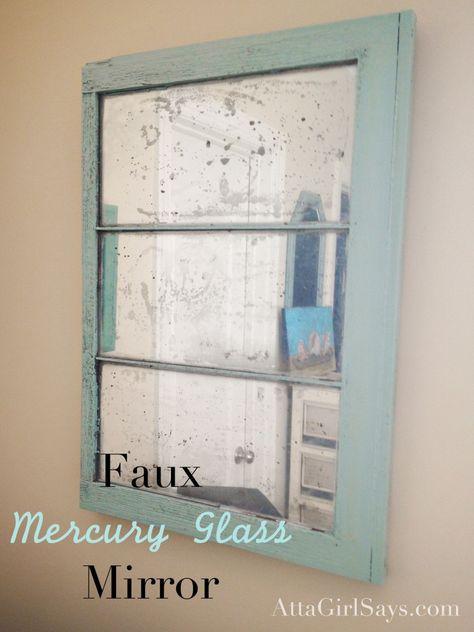 DIY faux mercury glass mirror from an old window