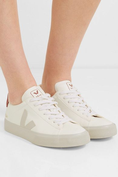White Campo vegan suede-trimmed leather