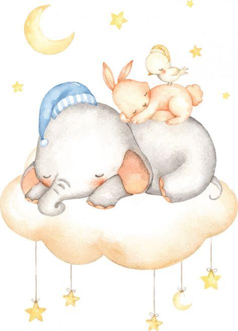 Sleeping Elephant Nursery Wall Sticker