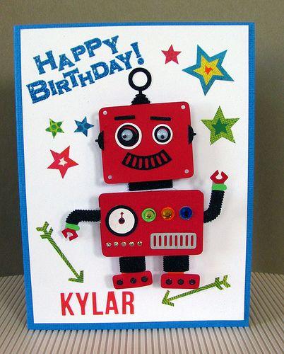 OOAK Happy Birthday Boy Girl 3D Robot Card