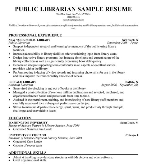 Public #Librarian Resume Sample (resumecompanion) LIBRARY - resume for library assistant