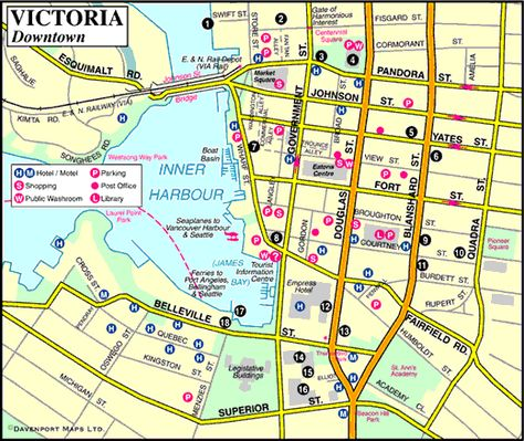 Map Of Canada James Bay.Map Of Victoria Downtown Victoria Inner Harbour James Bay Bc
