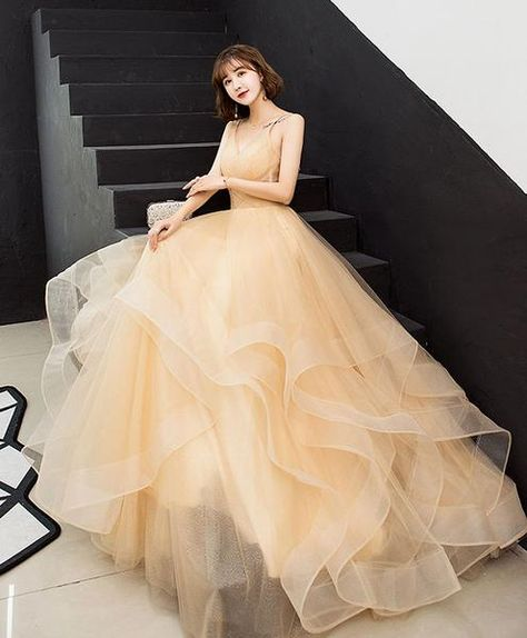 5f0a7c952 Champagne v neck tulle long prom dress