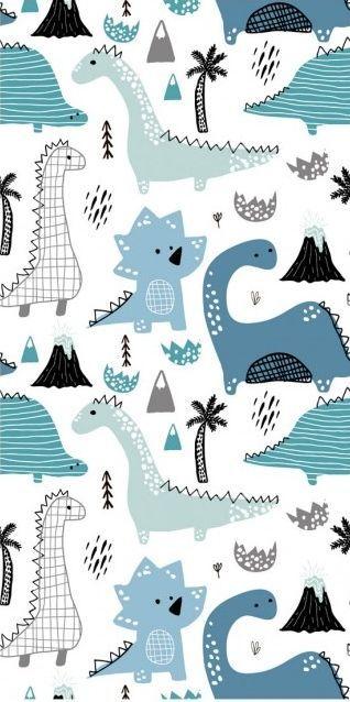Modern Wallpaper Dinos Dinosaur Wallpaper Cute Patterns Wallpaper Baby Blue Wallpaper