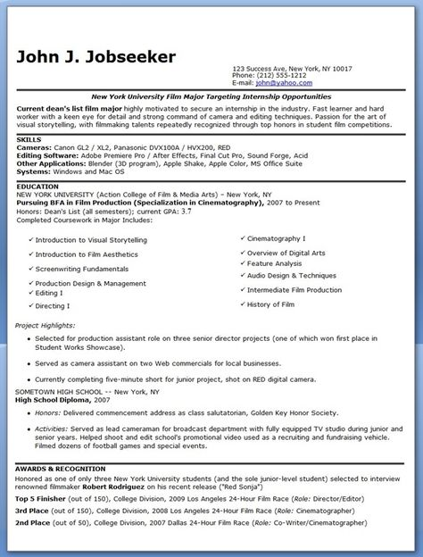 Film Resume Example. 12 Best Resume Writing Images On Pinterest