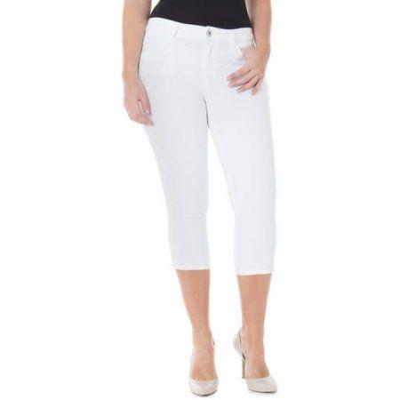 Jordache Women's Plus-Size 23 inch Skinny Capris, Size: 24W, White ...