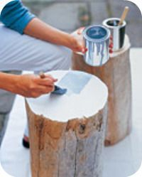 Side Tables Made Of Tree Stumps. So Cool For Outside Decor. Now Just How