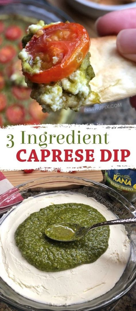 SO GOOD!! This easy appetizer dip for a party is a real crowd pleaser! Just 3 ingredients! It's perfect served with pita chips bread or crackers. | Warm Caprese Cheese Dip Recipe from Instrupix.com #instrupix #appetizers #diprecipes #partyfood #caprese #basilpesto #creamcheese #appetizers #appetizers #for #a #crowd