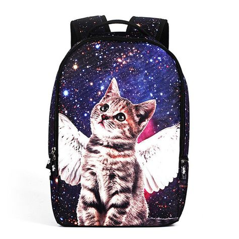 86e07f1ab96d Children School Bag 3D Stereoscopic Galaxy Cat Printing Stars Backpack 22L  Soft Bag Laptop Backpacks Girls Boys School Bags BB81