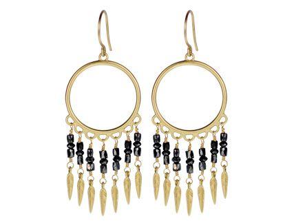 3cfcc9219 18K Gold Small Black Diamond Dream Catcher Earrings | Slinky Gold ...