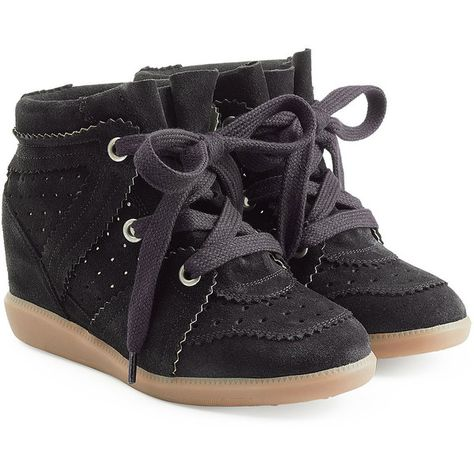 e5acae71 Isabel Marant Etoile Bobby Suede Wedge Sneakers (€375) ❤ liked on Polyvore  featuring shoes, sneakers, sko, black, sneaker wedge shoes, wedge sneakers,  ...