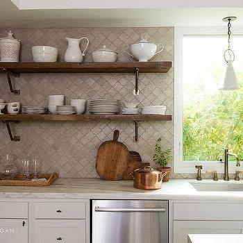 Taupe Arabesque Backsplash Tiles With Wooden Shelves Backsplash
