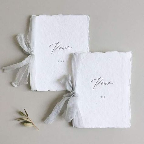 Forever remember the promises made on your wedding day with this beautiful set of His & Hers Vow Books by Paula Lee Calligraphy.