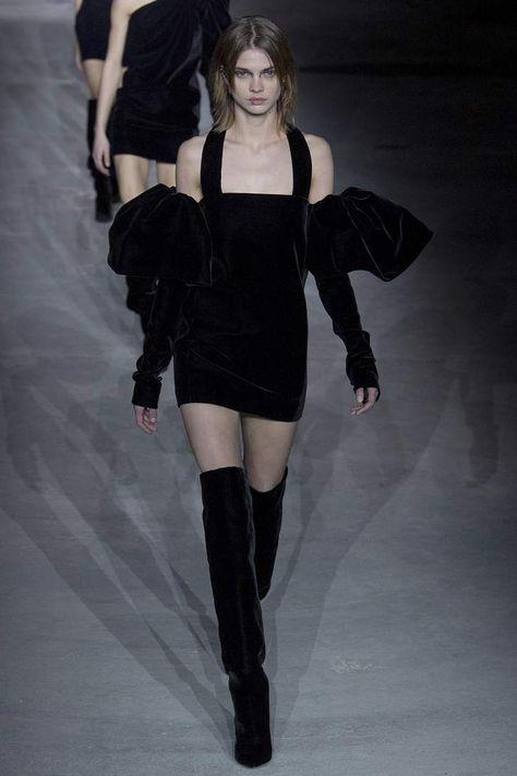 Saint Laurent - Velvet off-the-shoulder dress | Mytheresa
