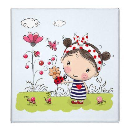 Cute Cartoon Girl with Ladybug in Garden Scene Card -nature diy customize sprecial design