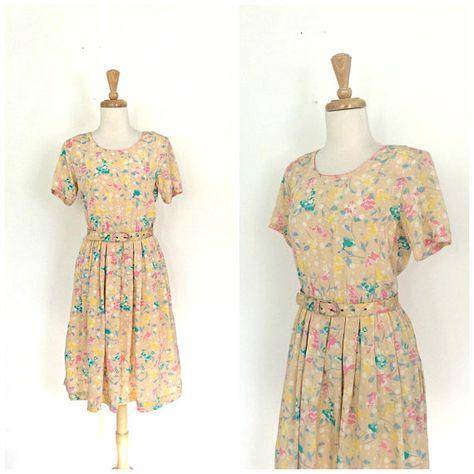 dresses Vintage 80s Flora Kung silk...