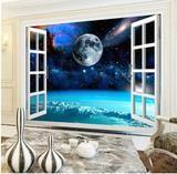 Open Window Starry Night Sky Planet View Wallpaper 3D Mural