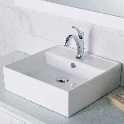 Classically Redefined Vitreous China Rectangular Vessel Bathroom Sink With Overflow In 2021