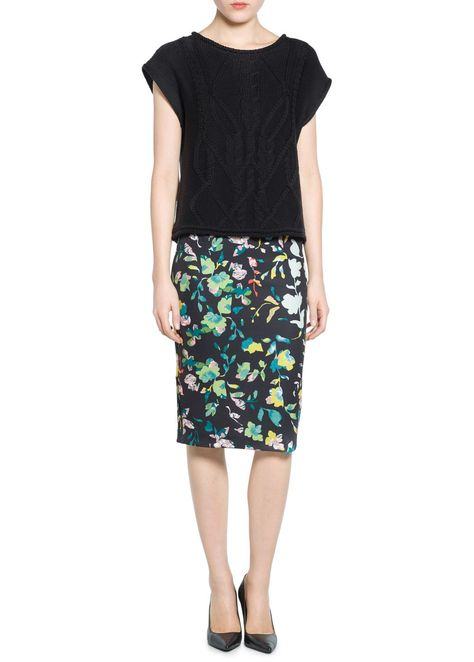0fec14b7916b72 Floral neoprene-effect skirt - Women | Skirts by Deep Style | Floral ...
