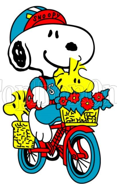 Snoopy rides bicycle with Woodstock