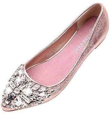 17811783420cc Amazon.com: haoricu Flat Shoes Women, Women's Crystal Rhinestone ...