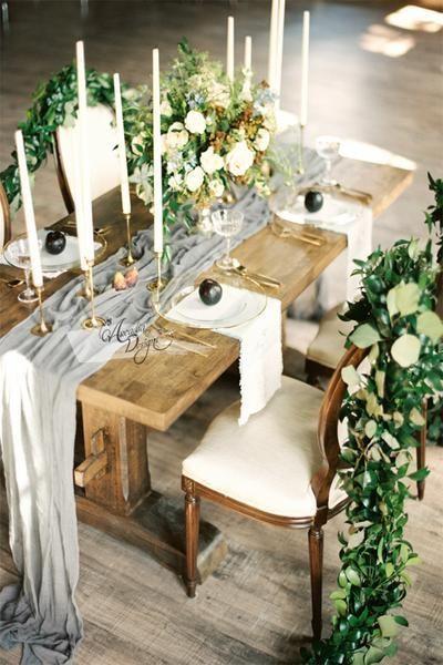 Silky Grey Chiffon Table Runner Hochzeit Tischlaufer Hochzeit